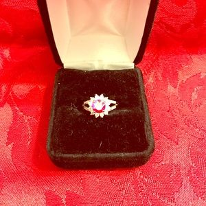 Faux diamond and ruby ring